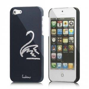 Coque iPhone SE et 5s noire rigide avec cygne en strass