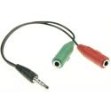 ADAPT-G817587 - Adaptateur audio Jack 3.5mm mâle vers 2 jack 3.5mm femelles