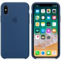 APPLE-MQT42FE - Coque officielle Apple iPhone X silicone soft bleu cobalt