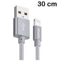 AWEI-CL988GRIS - Câble iPhone renforcé tressé nylon 30 cm gris charge et transfert