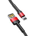 BASEUS-CALKLF-G91 - Câble USB Lightning de Baseus renforcé tressé nylon 1 mètre noir et rouge