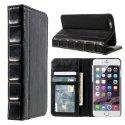 BOOKSTYLE-IP6SPLUSNOIR - Etui iPhone 6s PLUS aspect livre en cuir noir fonction stand