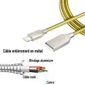 CABLEDOUCHE-IPXGOLD - Câble iPhone entièrement en métal gold