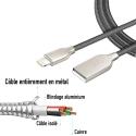 CABLEDOUCHE-IPXNOIR - Câble iPhone entièrement en métal noir