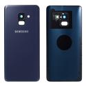 CACHE-A82018BLEU - Dos Samsung Galaxy A8 2018 en verre coloris bleu
