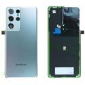 CACHE-S21ULTRASILVER - Cache batterie vitre arrière origine Samsung Galaxy S21 Ultra coloris gris silver