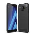 CARBOBRUSH-A6PLUS - Coque Galaxy A6 Plus 2018 antichoc coloris noir aspect carbone