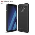 CARBOBRUSH-A82018 - Coque Galaxy A8-2018 antichoc coloris noir aspect carbone