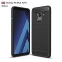 CARBOBRUSH-A8PLUS2018 - Coque Galaxy A8 PLUS 2018 antichoc coloris noir aspect carbone