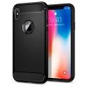 CARBOBRUSH-IPHONEX - Coque iPhone X antichoc coloris noir aspect carbone