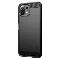 CARBOBRUSH-MI11LITE - Coque Xiaomi Mi-11 Lite (5G) antichoc coloris noir aspect carbone