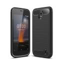 CARBOBRUSH-NOKIA1 - Coque Nokia-1 flexible antichoc coloris noir aspect carbone