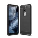 CARBOBRUSH-NOKIA51PLUS - Coque Nokia 5.1 Plus flexible antichoc coloris noir aspect carbone