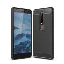 CARBOBRUSH-NOKIA6-1 - Coque Nokia 6.1 flexible antichoc coloris noir aspect carbone