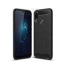 CARBOBRUSH-P20LITE - Coque Huawei P20 LITE antichoc coloris noir aspect carbone et métal brossé
