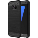 CARBOBRUSH-S7 - Coque Galaxy-S7 antichoc coloris noir aspect carbone