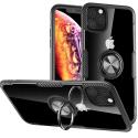 CARBORING-IP11PRO - Coque iPhone 11 PRO antichoc noire aspect carbone avec anneau
