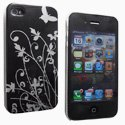 CFLOWER-IP4-NO - Coque rigide Flower noire pour iPhone 4