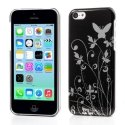 CFLOWERSILVIP5C - Coque rigide Flower Silver sur fond noir pour iPhone 5c