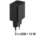 CH-2USB12W - Chargeur secteur smartphone et tablette prise USB 12W