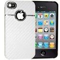CHROME-IP4-BLA - Coque Chrome blanc avec contour pour iPhone 4 et 4S