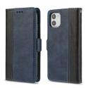CONTRAST-IP11BLEU - Etui portefeuille iPhone-11 rétro coloris bleu rabat latéral articulé fonction stand