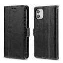 CONTRAST-IP11NOIR - Etui portefeuille iPhone-11 rétro coloris noir rabat latéral articulé fonction stand