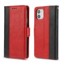 CONTRAST-IP11ROUGE - Etui portefeuille iPhone-11 rétro coloris rouge rabat latéral articulé fonction stand