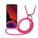 COVCORD-IP11XSROUGE - Coque iPhone Xs anrtichoc transparente avec cordon rouge