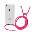 COVCORD-IP8ROUGE - Coque iPhone 7/8/SE(2020) anrtichoc transparente avec cordon rouge