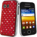 COVDIAMS5360ROUGE - Coque rigide aspect matelassé rouge toucher gomme avec inserts diamants Galaxy Y S5360