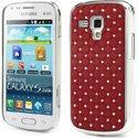 COVDIAMS7560ROUGE - Coque rigide aspect matelassé rouge toucher gomme avec inserts diamants Galaxy Trend S7560 et Trend