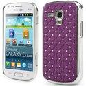 COVDIAMS7560VIOLET - Coque rigide aspect matelassé violet toucher gomme avec inserts diamants Galaxy Trend S7560 et Tren