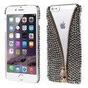 COVDIAMZIPSKULLIP6 - Coque arrière avec strass noirs et zip et skull doré pour iPhone 6s