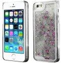 COVIP5LIQUIDSTARGRIS - Coque rigide iPhone 5s collection Liquide Star argent avec étoiles et paillettes argentées