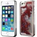 COVIP5LIQUIDSTARROUGE - Coque rigide iPhone 5s collection Liquide Star rouge avec étoiles et paillettes argentées