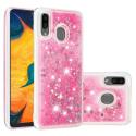 COVLIQUID-A20ROSE - Coque Galaxy A20 / A30 avec liquide strass et paillettes roses
