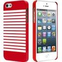 COVMARINIEREIP5-ROUG - Coque sailor marinière rouge et blanche pour iPhone 5