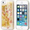 COVMUSICIP5GOLD - Coque rigide iPhone 5S collection Liquide Gold avec des notes de musiques et paillettes dorées