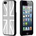 COVNOIRALUUKIP5SILVER - Coque rigide aluminium gris silver avec drapeau UK contours noirs pour Apple iPhone 5s