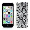 COVSERPENTIP5CBLANC - Coque arrière aspect serpent en relief iPhone 5c coloris blanc et noir