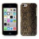 COVSERPENTIP5CMARRON - Coque arrière aspect serpent en relief iPhone 5c coloris marron et noir