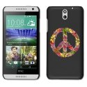 CPRN1DES610PEACELOVE - Coque noire pour HTC Desire 610 Impression motif peace and love fleuri
