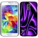 CPRN1S5SOIEMAUVE - Coque noire Samsung Galaxy S5 impression motif soie mauve drapée