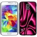 CPRN1S5SOIEROSE - Coque noire Samsung Galaxy S5 impression motif soie rose drapée