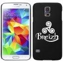 CPRN1S5TRISKEL - Coque noire Samsung Galaxy S5 impression motif Triskel celte blanc