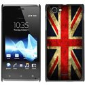 CPRN1XPLDRAPEAUK - Coque noire drapeau UK vintage Sony Xperia L