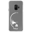 CRYSGALAXYS9CRANE - Coque rigide transparente pour Samsung Galaxy S9 avec impression Motifs crâne blanc