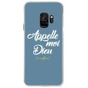 CRYSGALAXYS9DIEUBLEU - Coque rigide transparente pour Samsung Galaxy S9 avec impression Motifs Appelle moi Dieu bleu