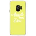 CRYSGALAXYS9DIEUJAUNE - Coque rigide transparente pour Samsung Galaxy S9 avec impression Motifs Appelle moi Dieu jaune